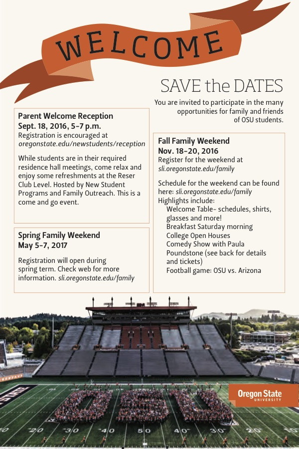 Fall Family Weekend Postcard